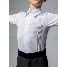 """Боди-рубашка для бальных спортивных танцев  для мальчиков. Рубашка """"Стандарт"""" с защипами, на пуговицах"""